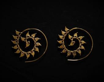 Brass Flower petals Spiral earrings, brass earrings, spiral Hoop earrings, boho earrings, Indian jewelry, Bohemian jewelry, petals earrings.
