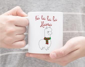 Fa La La Llama Mug, Christmas Mug, Winter Mug