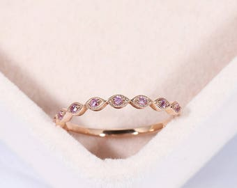 Rose gold ring Art deco Wedding band Women Pink sapphire Milgrain Unique Stacking Matching Bridal Jewelry Promise Anniversary gift for her