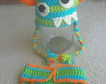 Crochet Monster hat with matching diaper cover photo prop