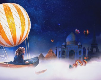 DREAM BOAT  / Digital Backdrops/ Pirate Backdrop/ Fantasy Backdrop/ Digital Background/ Book Backdrop