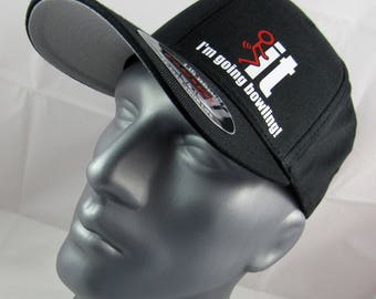 I'm going bowling fitted flex-fit Hat, bowling hat, bowling gift, bowler, for him, bowling cap, bowler cap