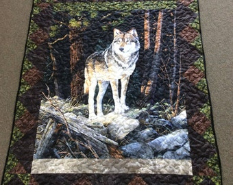 Wolf Quilt Solitary Sentinel Wolf at the Edge of Forest Outdoor Wildlife Quilt