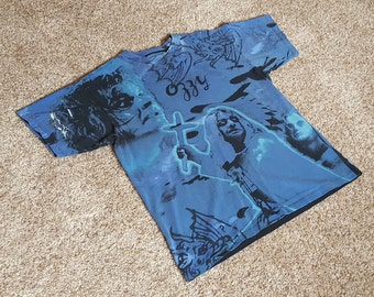 RARE!!! Vintage 90s Ozzy Osbourne All Over Print Heavy Metal Concert T Shirt