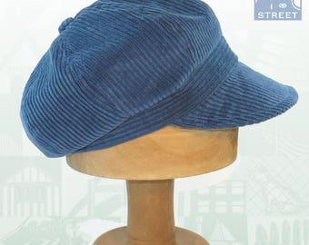 Blue corduroy newsboy cap peaked cap baker boy cap boho cap