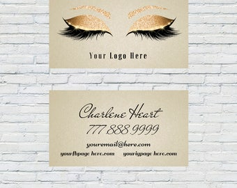 Gold Lash Artist Business Card, Lash Extensions, Make up Artist, Esthitician, 3D Lashes, Digital File, Download, Printable, Lash Lady
