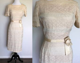 Goin' to the Chapel Dress | 1960s Vintage Cream Lace Belted Rockabilly Wiggle Dress | Size M