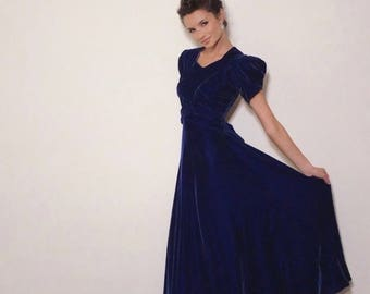 Blue Velvet Gown | 1930s Vintage Puff Sleeve Giant Bow Ruched Bias Cut Evening Gown | Size XS