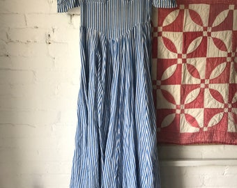 Vintage 1930s Sheer blue and white striped cotton dress gown 30s