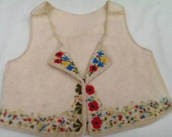 Felt Wool Vest with Needle Felted Flowers