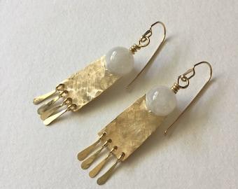 Moonstone and Fringe Earrings