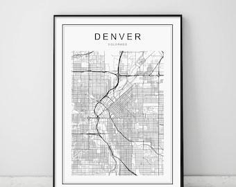 Denver Map, Denver Colorado Map, Denver Map Print, Colorado Map, United States Map Print, Denver Colorado Black and White Map