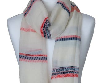 Striped Tassel Cream Beige Scarf / Spring Summer Scarf / Gift for her / Scarves / Womens Scarves / Scarf / Fashion Scarves / Accessories