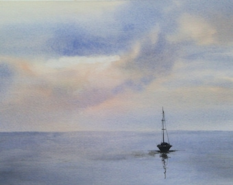Aquarelle originale aquarelle mer peinture d'un bateau dans le soleil couchant en Bretagne