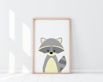 Raccoon Nursery Print, Nursery Decor, Woodland Nursery, Nursery Wall Art, Animal Nursery Print, Woodland Theme Prints, Raccoon Illustration