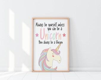 Unicorn Print, Unicorn Wall Art, Always Be a Unicorn, Girls Room Decor, Unicorn Nursery Decor, Unicorn Decals, Unicorn Name Print, Nursery