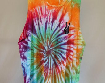 Mens Medium - Tank Singlet - Ready To Ship - Unisex - Spiral Tie Dyed - 100% Cotton - FREE SHIPPING within AUS