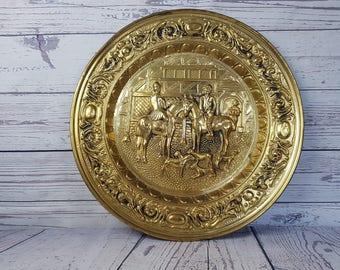 "Vintage Horse Man Equestrian British Gold Tone Metal 17"" Decorative Plate England English Riding Horseback Dog Wall Hanging Decor Platter"