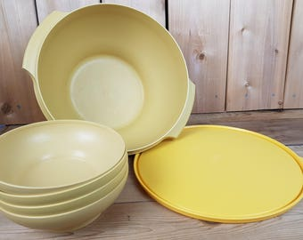 Vintage Tupperware Mustard Yellow Large Serving Bowl with 4 salad Bowls and Yellow Lid Made in Canada Mod Retro Kitchen Home Decor Farmhouse