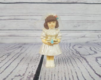 Vintage Praying Girl on First Communion Confirmation Serene and Peaceful Plastic Figurine Statue Religious Gift Catholic Baptism Christian