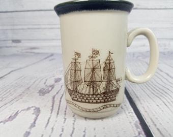 Vintage HMS Victory Ship Boat Royal Navy Mug Coffee Cup Novelty Retro Decor Break Time Tea Hot Beverage Gift Stoneware The Carrick Mat Knot