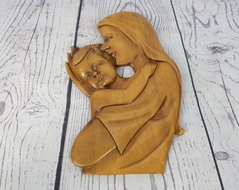 Vintage Virgin Mary & Baby Jesus Mother Child Hand Carved Wood Plaque Wall Art Religious Gift Catholic Christian Baptism Confirmation