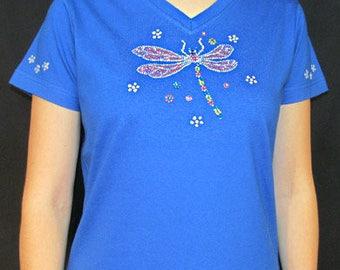 Rhinestone Dragonfly Bug Unique Custom Women's Cute Fun Glitter Cool Bling Bug V-neck T shirt Cindy's Handmade Shirts Boutique