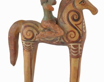 Ancient Greek Horse with rider Sculpture artifact