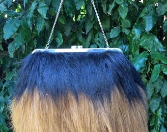 Faux fur clutch bag, Faux fur hand bag, Faux fur purse, Faux fur bag, Faux fur clutch, Faux fur handbag- Yeti/Orangutang