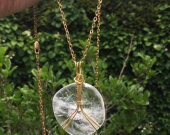 Rock Crystal, Clear Crystal Quartz, Crystal jewelry, versatile jewelry, Rock Crystal pendant, rustic jewelry, boho chic, long necklace,