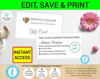 R+F Gift Card  Rodan and Fields Coupon   R+F Certificate   Printable Rodan and Fields Gift Certificates R+F Voucher Template