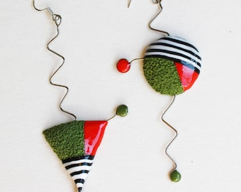 grass green red black and white stripes earrings triangle circle art big earings extravagand
