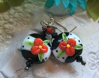 Floral SRA Lampwork Earrings, SRA Lampwork Jewelry, Gift For Her, Flower Earrings