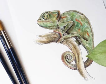 Chameleon-ORIGINAL Watercolor painting, unique, handmade chameleon film