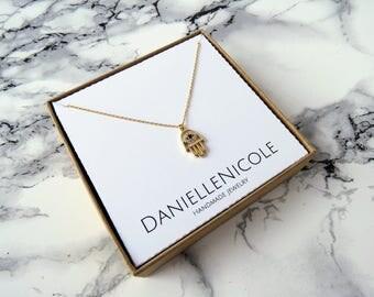 CZ Hamsa Necklace, Hamsa Hand, Evil Eye Necklace, Dainty Necklace, Pendant Necklace, Dainty Jewelry, Everyday Jewelry, Boho Necklace