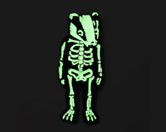 Badger Lapel Pin, Skeleton Lapel Pin, Glow In The Dark, Halloween Skeleton, Badger Gift, Fantastic Mr Fox