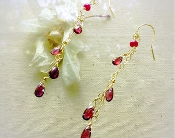 Garnet earrings,ruby earrings,long earrings,14 k gold filled earrings,ruby jewelry,gemstones earrings,gift for her,long earrings