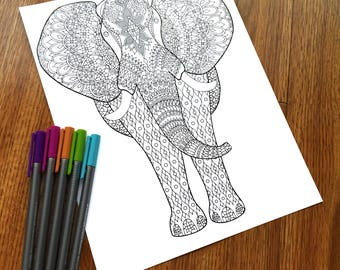 Zentangle Elephant Adult Coloring Page - Therapy Coloring - PDF Digital Download