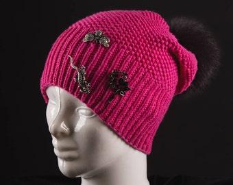 Women knit wool beanie Fur pom beanie hat Wife gift idea birthday Oversized hat Womens pink knit hat Beanie hat for mom Pink hat chunky