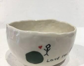 Love the Earth bowl, handmade bowl, porcelain bowl, succulent bowl, rice bowl, fruit bowl, ice cream bowl, oatmeal bowl, soup bowl, c2c bowl