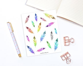 Rainbow feather stickers - 17 decorative stickers, planner stickers, boho stickers, watercolor stickers, watercolor stickers, bujo stickers