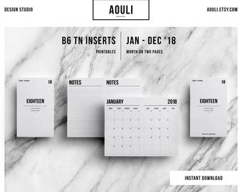 B6 TN Insert Printable | B6 TN Size | 2018 Calendar | B6 TN | Month on Two Pages | Travelers Notebook Insert | Printable Insert | MO2P |