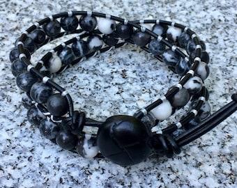Mens Wrap Bracelet, Black/White Wrap Bracelet, Leather Wrap Bracelet, Beaded Wrap Bracelet, Beaded Bracelet, Leather Wrap, YoungBeadsCrafts