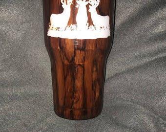 3 deer personalized Woodgrain Cup