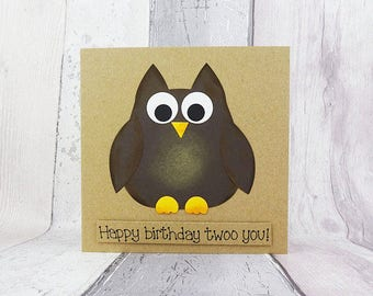 Funny Owl Birthday card, Handmade brown owl card, Cute barn owl, Happy Birthday, Bird pun card, Punny card, Personalised, Anniversary