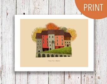 "Ireland - Little Home Illustration 5""x7"" || Cute Irish Print - County Cork House Drawing"
