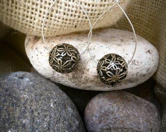 Silver bobble drop earrings