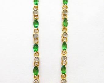 14K Emerald & Diamond Dangle Earrings - X2951