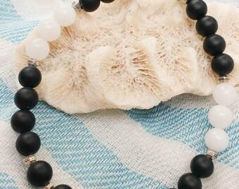 Black onyx white jade bracelet pewter men