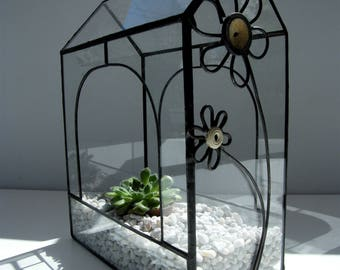Terrarium in glass and pewter, tiffany stained - glass - Fleur in button technique